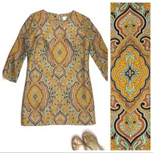 J. Crew silk paisley print shift mini dress pocket